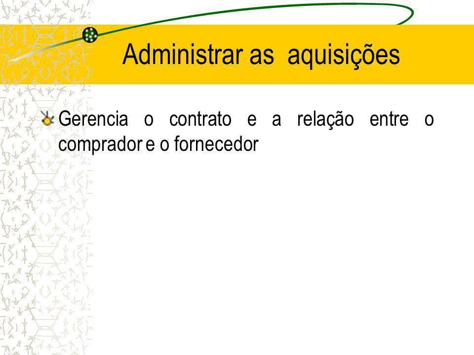 Administrar as aquisições Gerencia o contrato e a relação entre o comprador e o fornecedor