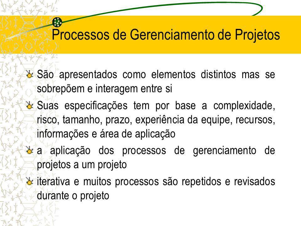 Processos de Gerenciamento de Projetos São apresentados como elementos distintos mas se sobrepõem e interagem entre si Suas especificações tem por bas