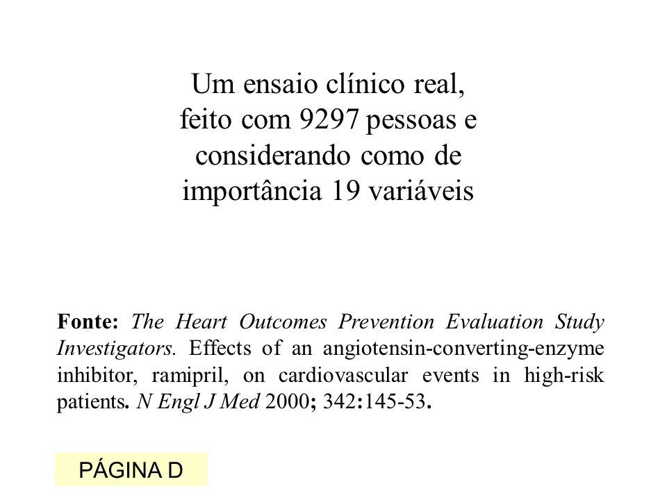 Um ensaio clínico real, feito com 9297 pessoas e considerando como de importância 19 variáveis Fonte: The Heart Outcomes Prevention Evaluation Study Investigators.