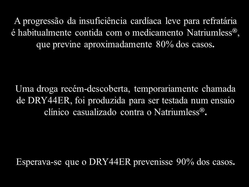 A progressão da insuficiência cardíaca leve para refratária é habitualmente contida com o medicamento Natriumless , que previne aproximadamente 80% dos casos.