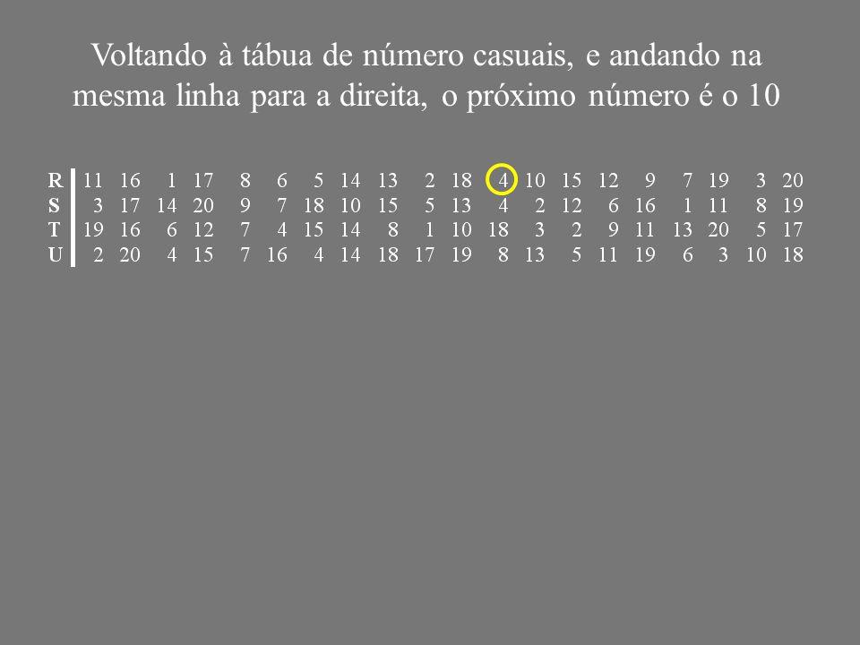Voltando à tábua de número casuais, e andando na mesma linha para a direita, o próximo número é o 10