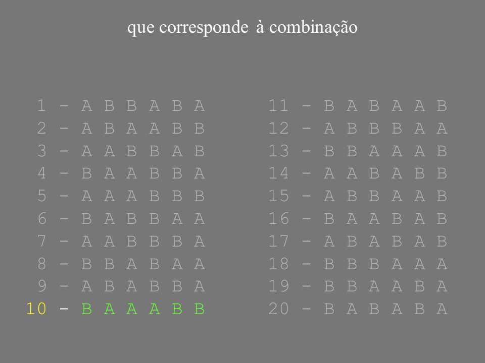 que corresponde à combinação 1 - A B B A B A11 - B A B A A B 2 - A B A A B B12 - A B B B A A 3 - A A B B A B13 - B B A A A B 4 - B A A B B A14 - A A B A B B 5 - A A A B B B15 - A B B A A B 6 - B A B B A A16 - B A A B A B 7 - A A B B B A17 - A B A B A B 8 - B B A B A A18 - B B B A A A 9 - A B A B B A19 - B B A A B A 10 - B A A A B B20 - B A B A B A