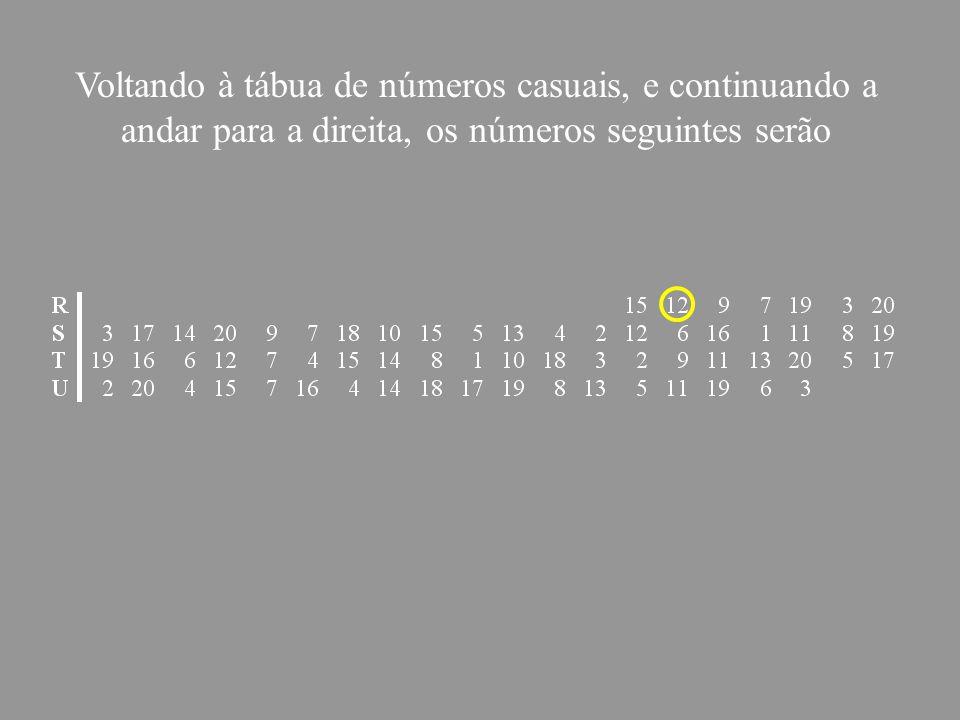 Voltando à tábua de números casuais, e continuando a andar para a direita, os números seguintes serão