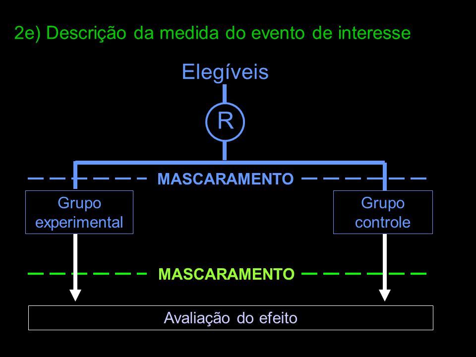 Elegíveis R Grupo experimental Grupo controle MASCARAMENTO Avaliação do efeito MASCARAMENTO 2e) Descrição da medida do evento de interesse