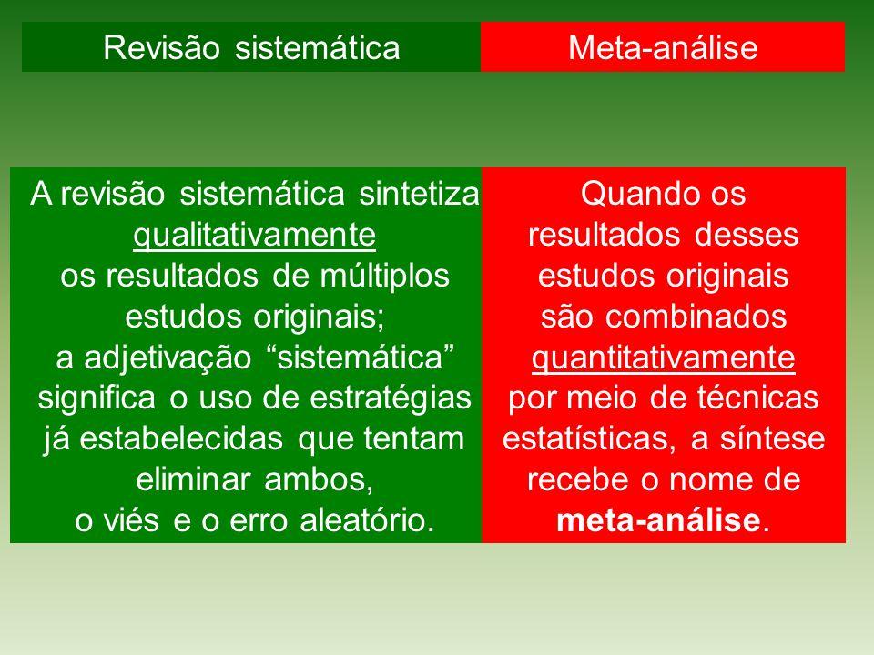A revisão sistemática sintetiza qualitativamente os resultados de múltiplos estudos originais; a adjetivação sistemática significa o uso de estratégias já estabelecidas que tentam eliminar ambos, o viés e o erro aleatório.