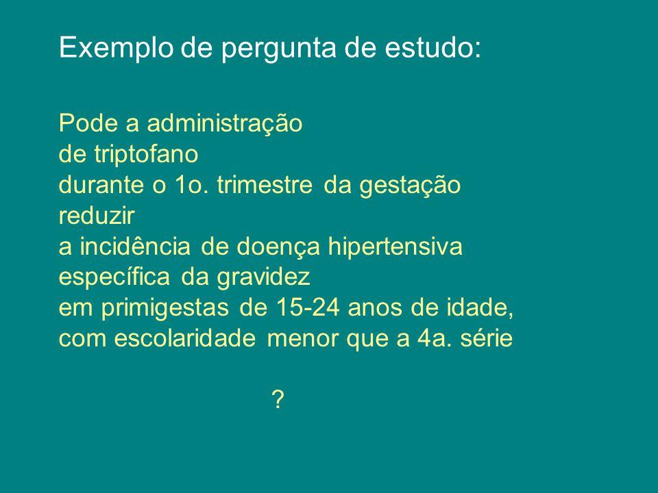 Exemplo de pergunta de estudo: Pode a administração diária de 20 mg de triptofano durante o 1o.