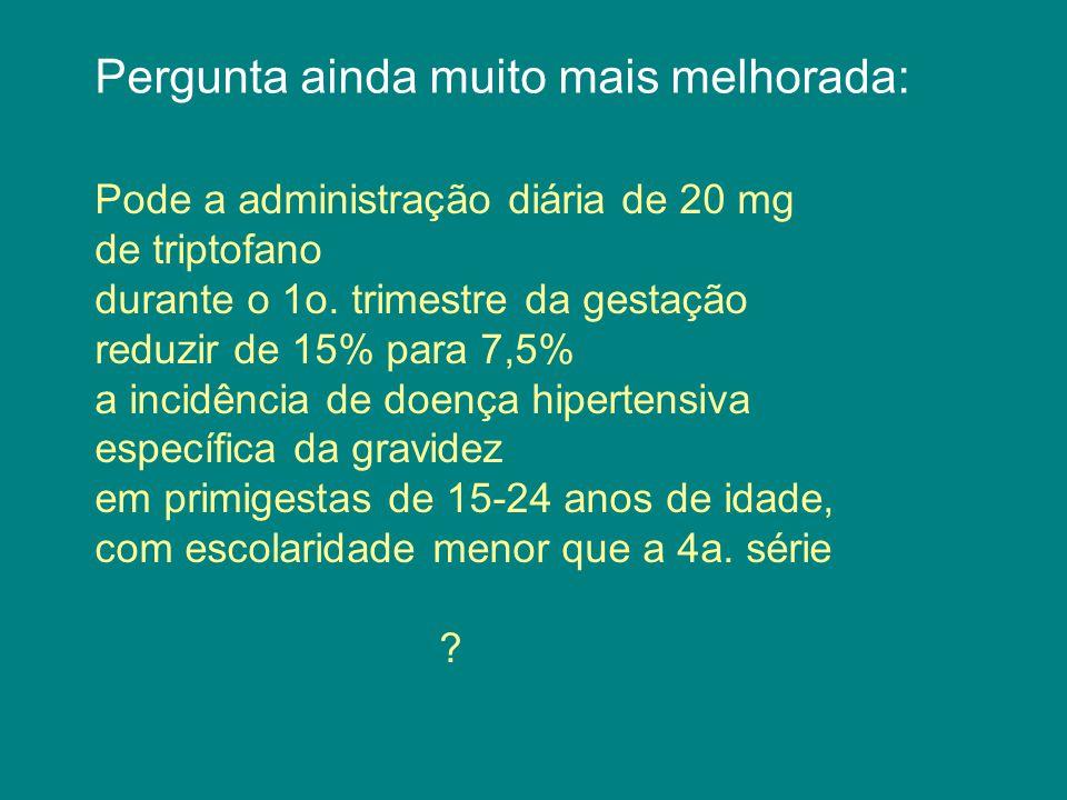Pergunta ainda muito mais melhorada: Pode a administração diária de 20 mg de triptofano durante o 1o.