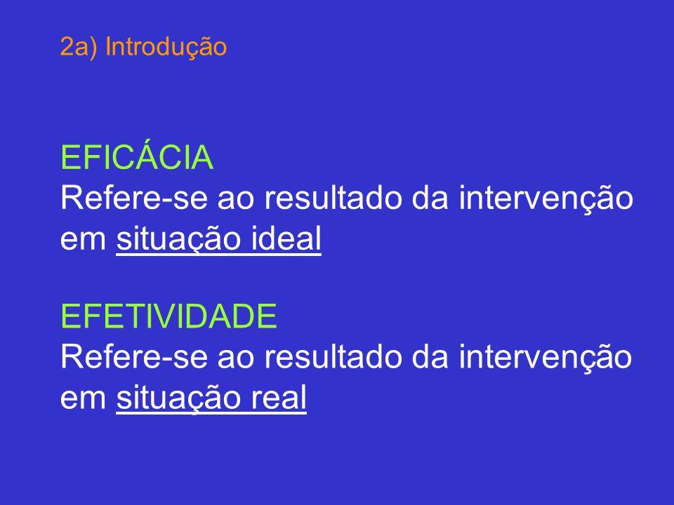 2a) Introdução EFICÁCIA Refere-se ao resultado da intervenção em situação ideal EFETIVIDADE Refere-se ao resultado da intervenção em situação real