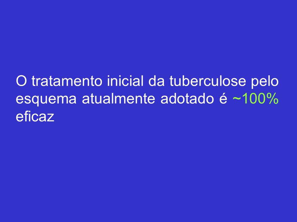 O tratamento inicial da tuberculose pelo esquema atualmente adotado é ~100% eficaz