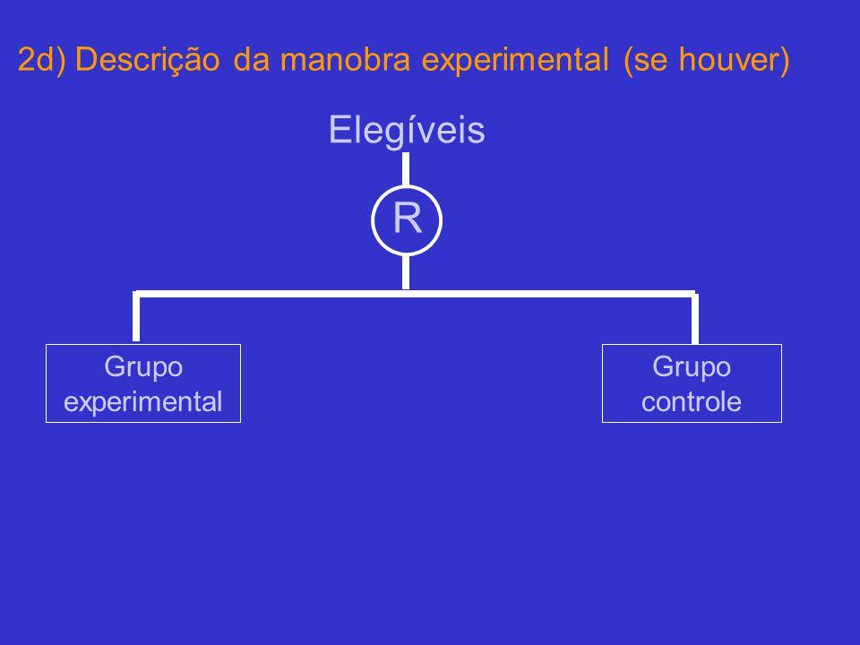 2d) Descrição da manobra experimental (se houver) Elegíveis R Grupo experimental Grupo controle