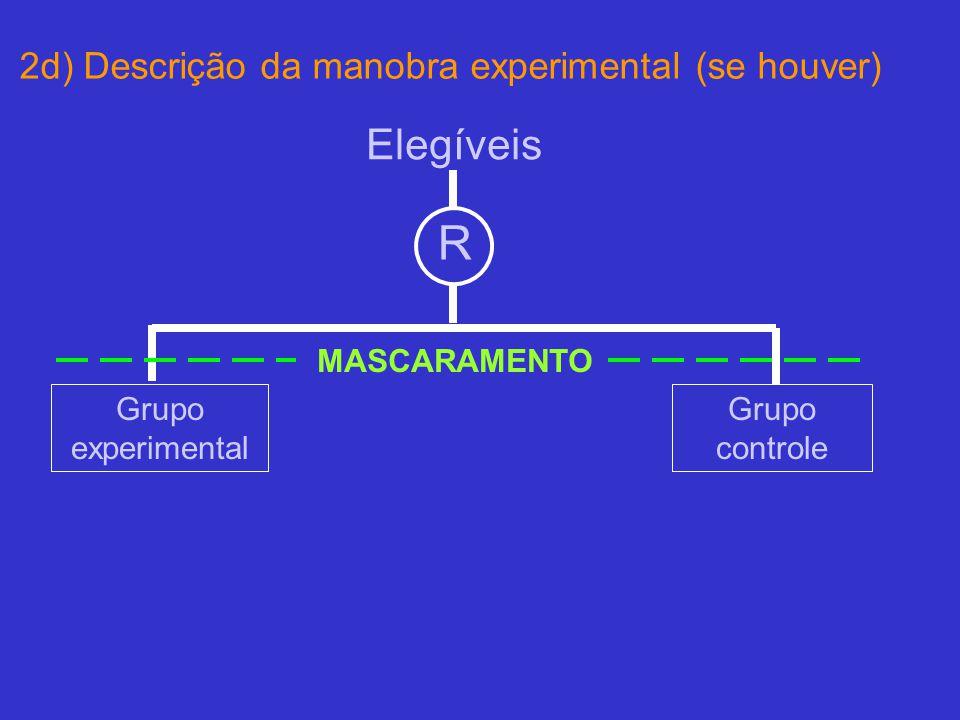 2d) Descrição da manobra experimental (se houver) Elegíveis R Grupo experimental Grupo controle MASCARAMENTO