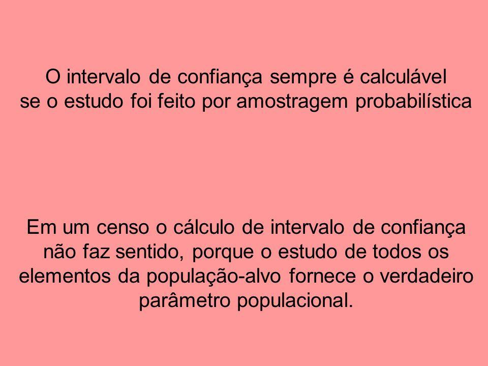 O intervalo de confiança sempre é calculável se o estudo foi feito por amostragem probabilística Em um censo o cálculo de intervalo de confiança não faz sentido, porque o estudo de todos os elementos da população-alvo fornece o verdadeiro parâmetro populacional.