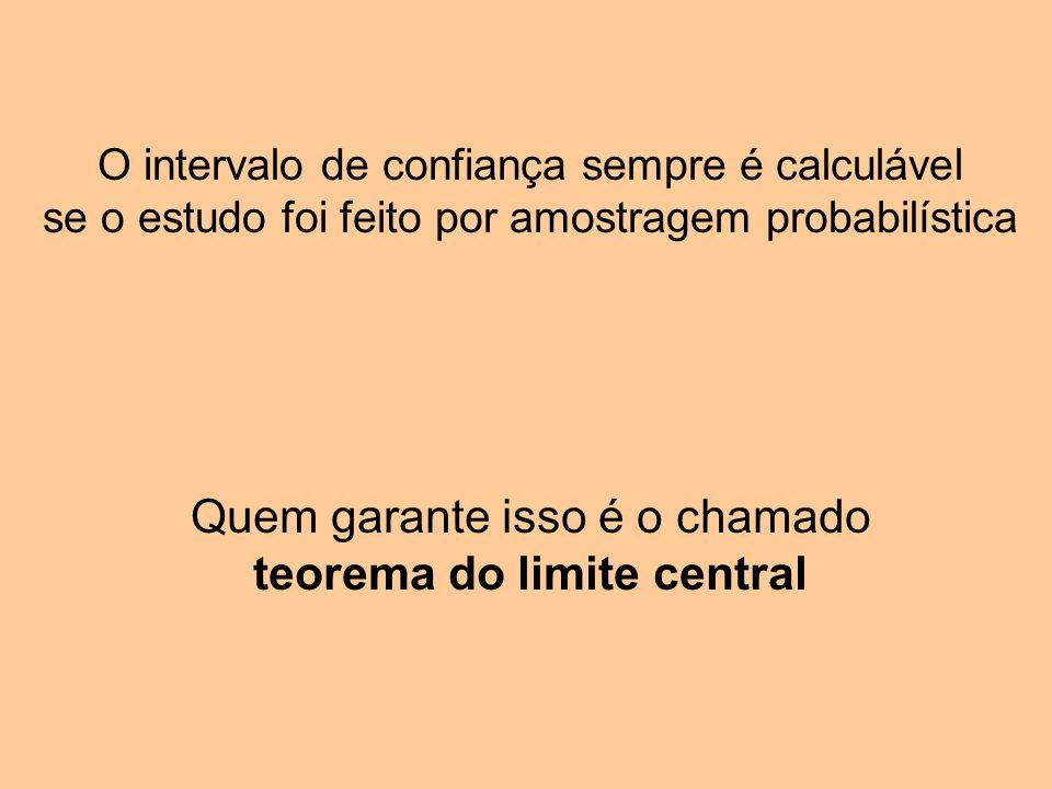O intervalo de confiança sempre é calculável se o estudo foi feito por amostragem probabilística Quem garante isso é o chamado teorema do limite central