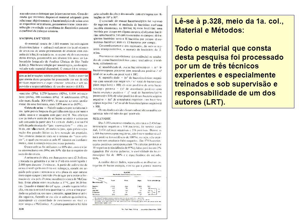Lê-se à p.328, meio da 1a. col., Material e Métodos: Todo o material que consta desta pesquisa foi processado por um de três técnicos experientes e es