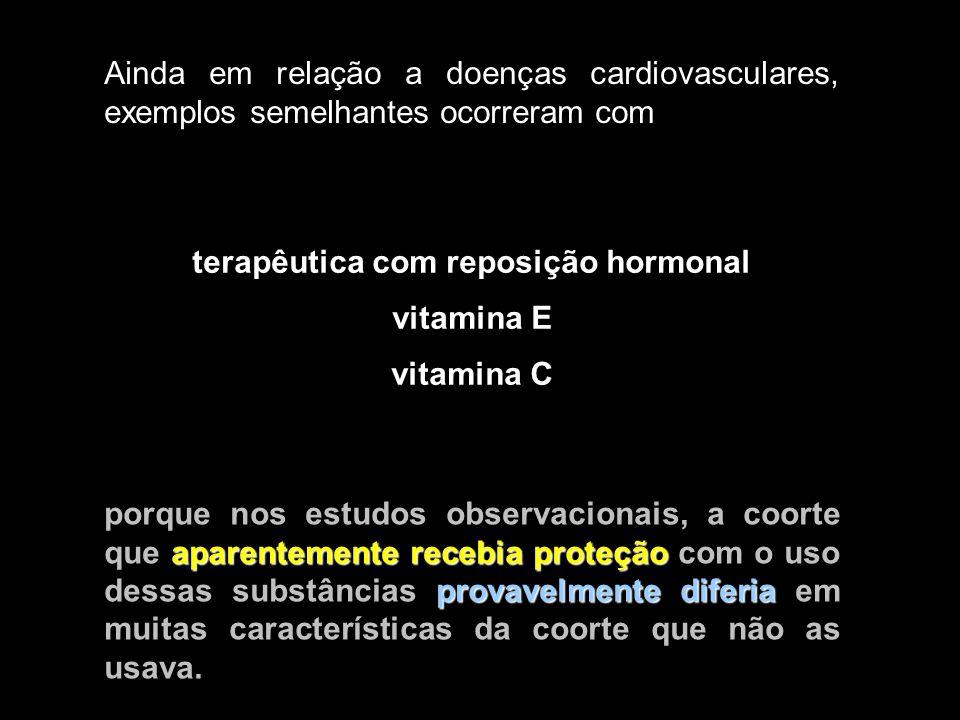 terapêutica com reposição hormonal vitamina E vitamina C aparentemente recebia proteção provavelmente diferia porque nos estudos observacionais, a coo