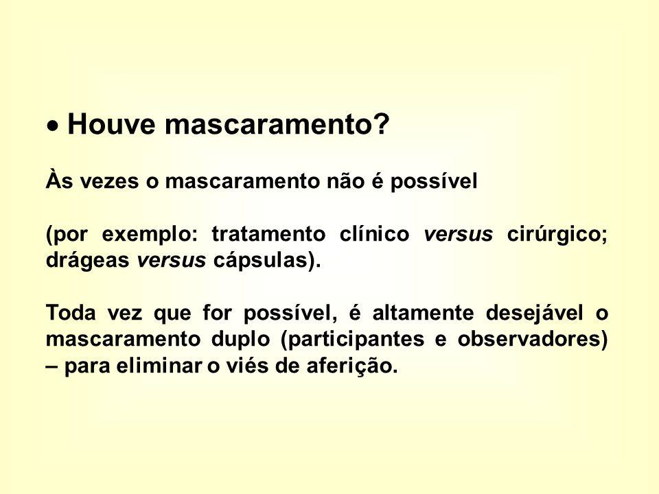  Houve mascaramento? Às vezes o mascaramento não é possível (por exemplo: tratamento clínico versus cirúrgico; drágeas versus cápsulas). Toda vez que