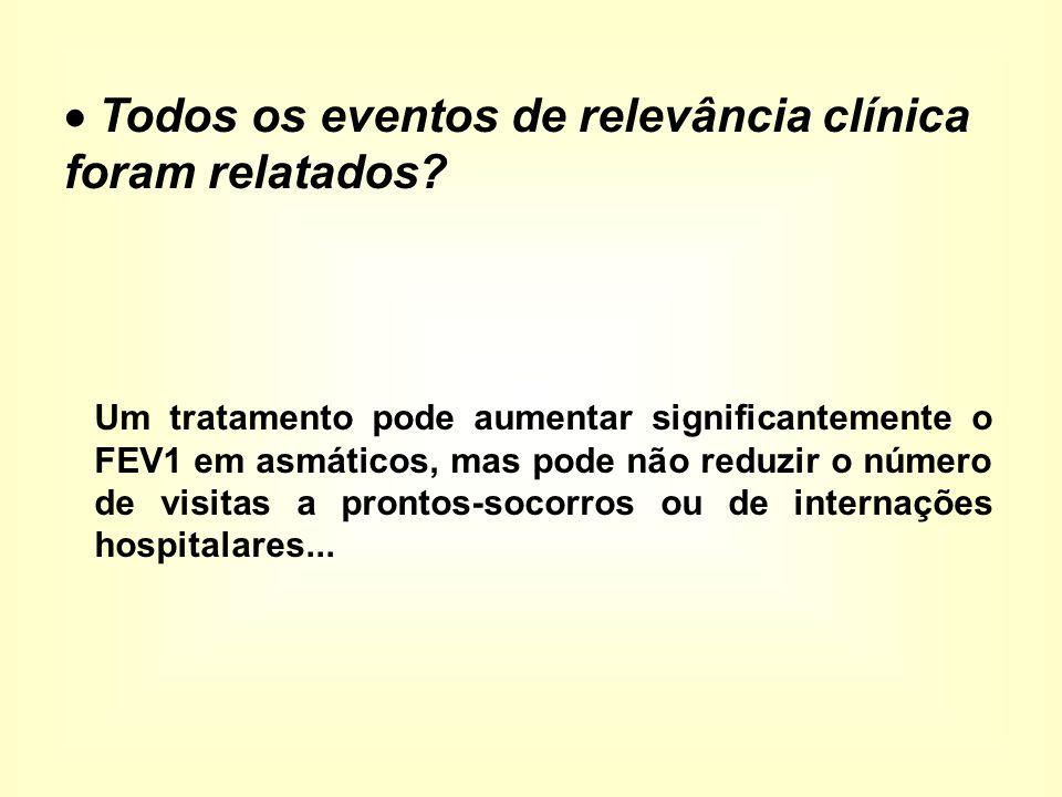 Um tratamento pode aumentar significantemente o FEV1 em asmáticos, mas pode não reduzir o número de visitas a prontos-socorros ou de internações hospitalares...