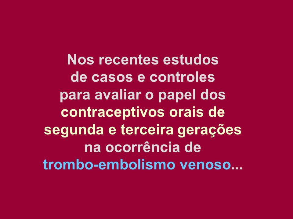 Nos recentes estudos de casos e controles para avaliar o papel dos contraceptivos orais de segunda e terceira gerações na ocorrência de trombo-embolis