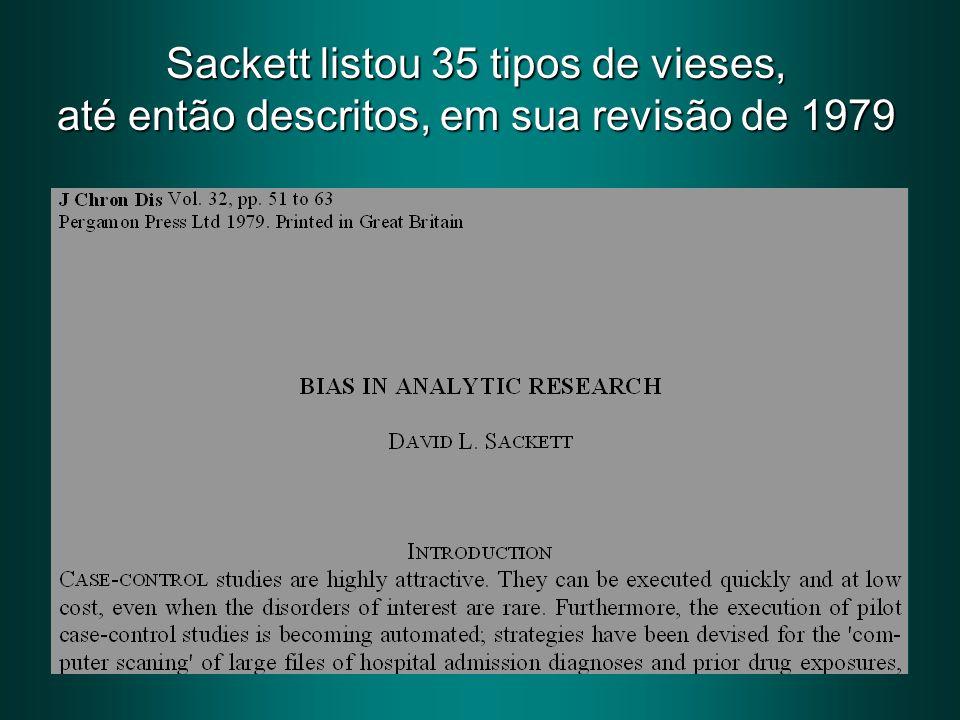 Sackett listou 35 tipos de vieses, até então descritos, em sua revisão de 1979