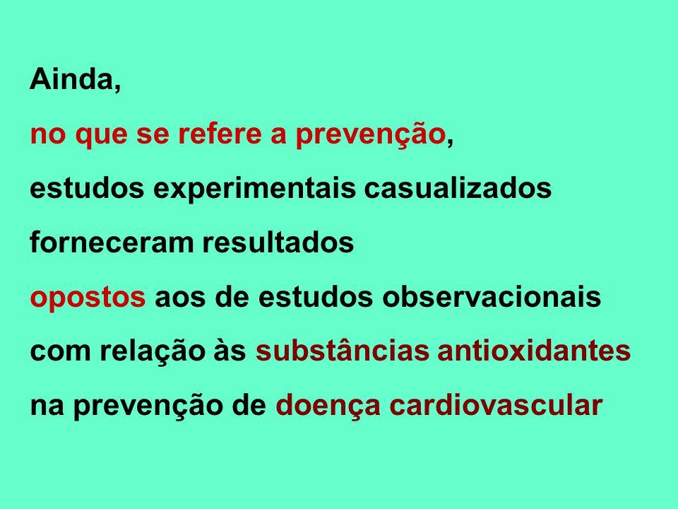 Ainda, no que se refere a prevenção, estudos experimentais casualizados forneceram resultados opostos aos de estudos observacionais com relação às sub