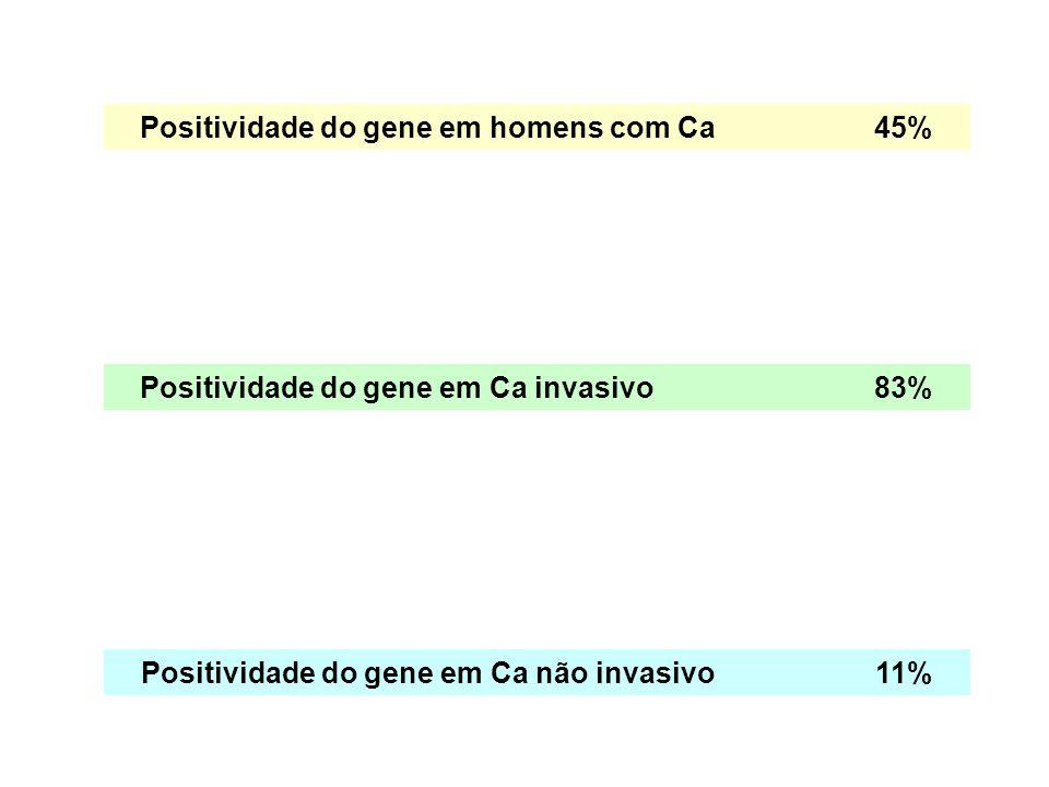 Positividade do gene em homens com Ca45% Positividade do gene em Ca invasivo83% Positividade do gene em Ca não invasivo11%