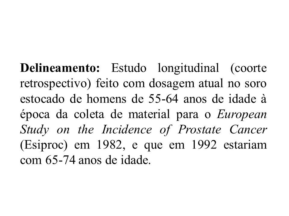 Delineamento: Estudo longitudinal (coorte retrospectivo) feito com dosagem atual no soro estocado de homens de 55-64 anos de idade à época da coleta d