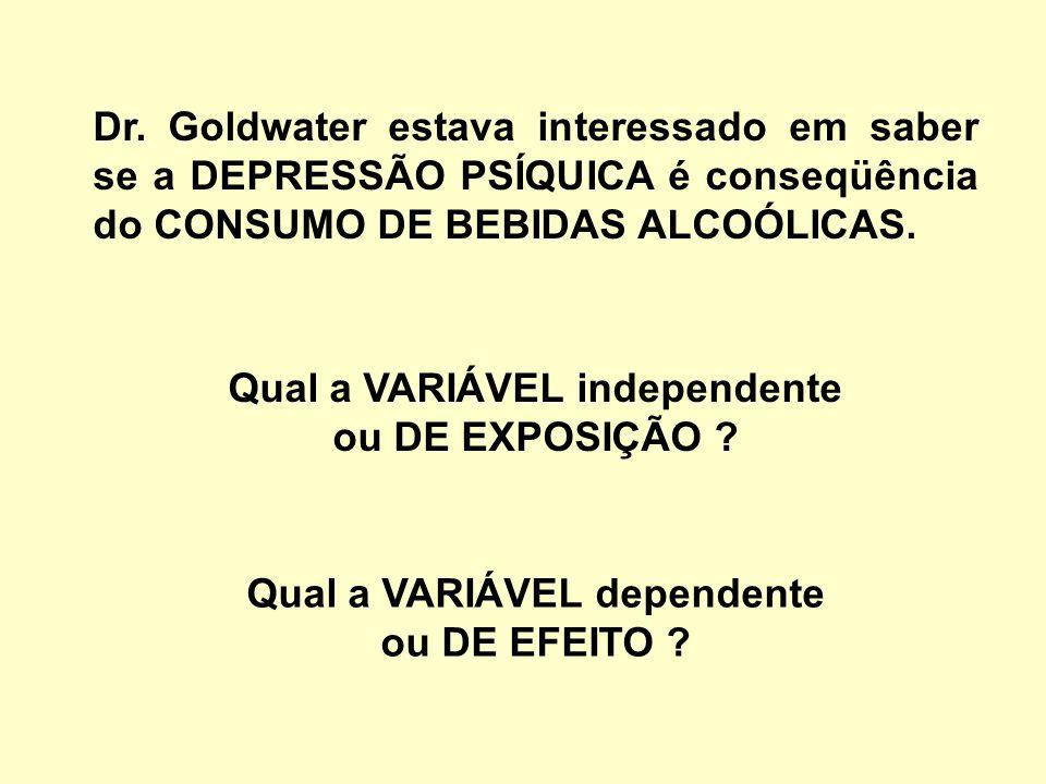 Dr. Goldwater estava interessado em saber se a DEPRESSÃO PSÍQUICA é conseqüência do CONSUMO DE BEBIDAS ALCOÓLICAS. Qual a VARIÁVEL independente ou DE