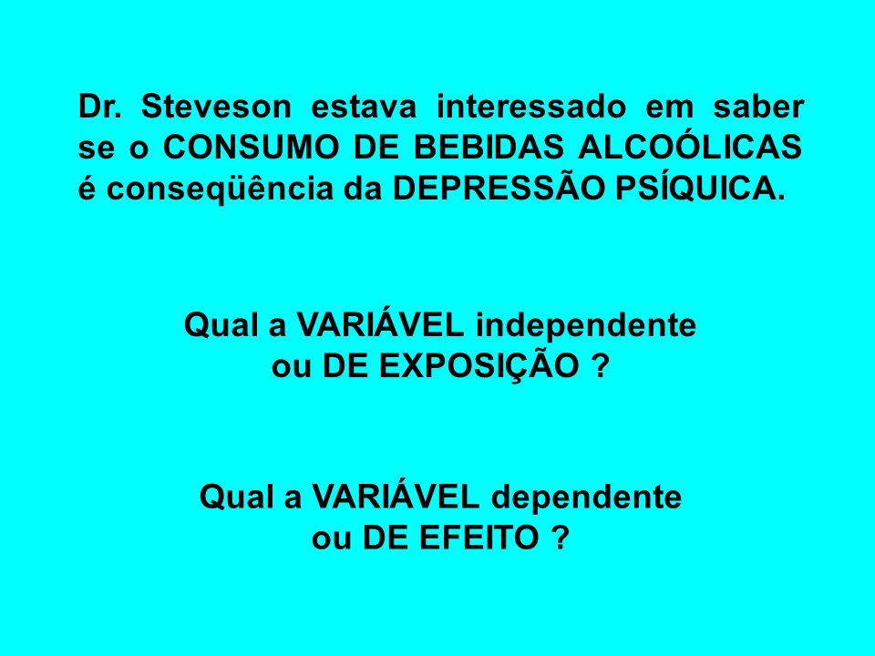 Dr. Steveson estava interessado em saber se o CONSUMO DE BEBIDAS ALCOÓLICAS é conseqüência da DEPRESSÃO PSÍQUICA. Qual a VARIÁVEL independente ou DE E