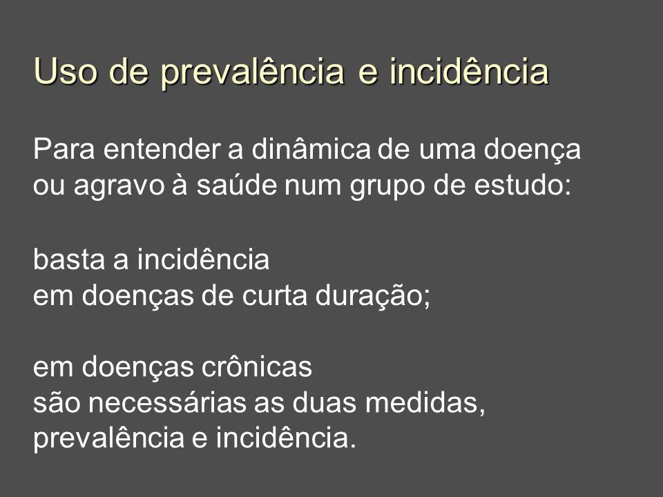Uso de prevalência e incidência Para entender a dinâmica de uma doença ou agravo à saúde num grupo de estudo: basta a incidência em doenças de curta d
