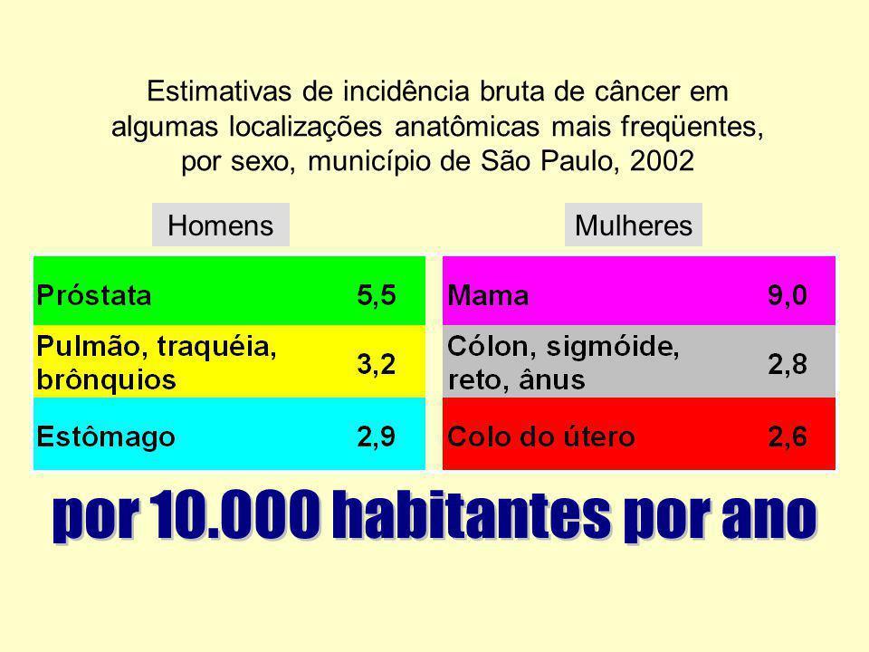 Estimativas de incidência bruta de câncer em algumas localizações anatômicas mais freqüentes, por sexo, município de São Paulo, 2002 HomensMulheres