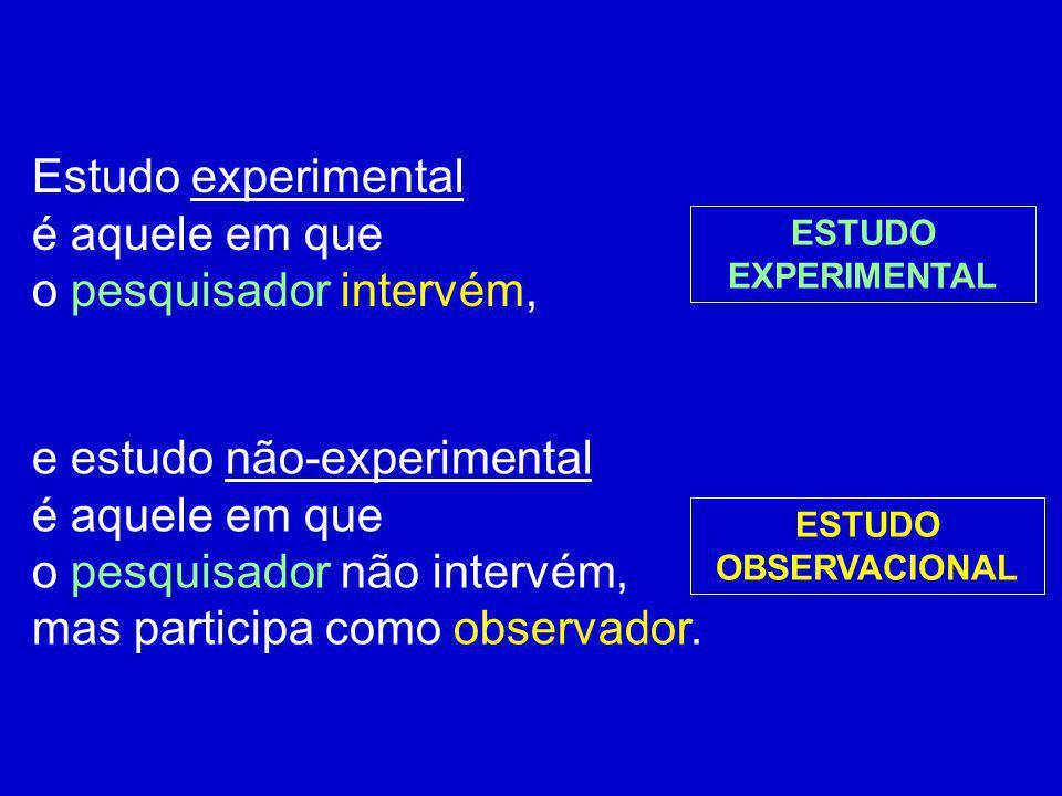 Estudo experimental é aquele em que o pesquisador intervém, e estudo não-experimental é aquele em que o pesquisador não intervém, mas participa como o