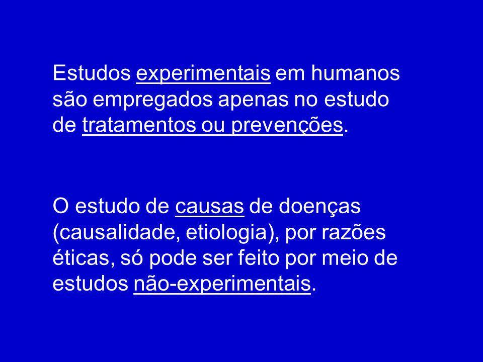 Estudos experimentais em humanos são empregados apenas no estudo de tratamentos ou prevenções. O estudo de causas de doenças (causalidade, etiologia),