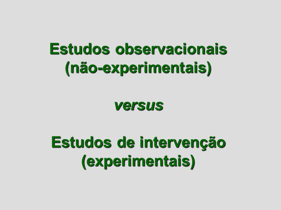 Estudos observacionais (não-experimentais)versus Estudos de intervenção (experimentais)