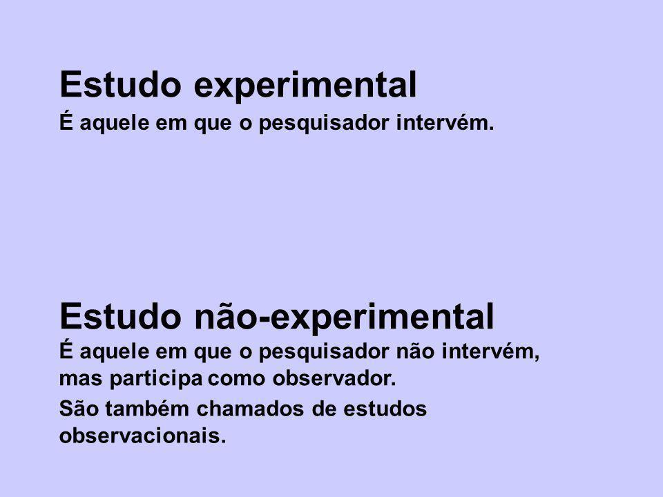 Estudo experimental Estudo não-experimental É aquele em que o pesquisador intervém. É aquele em que o pesquisador não intervém, mas participa como obs