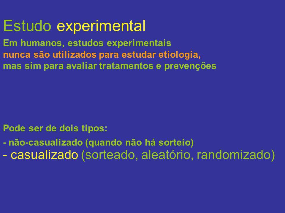 Estudo experimental Pode ser de dois tipos: - não-casualizado (quando não há sorteio) - casualizado (sorteado, aleatório, randomizado) Em humanos, est