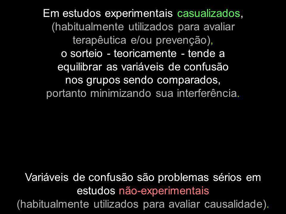 Variáveis de confusão são problemas sérios em estudos não-experimentais (habitualmente utilizados para avaliar causalidade). Em estudos experimentais