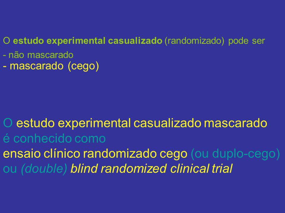 O estudo experimental casualizado mascarado é conhecido como ensaio clínico randomizado cego (ou duplo-cego) ou (double) blind randomized clinical tri