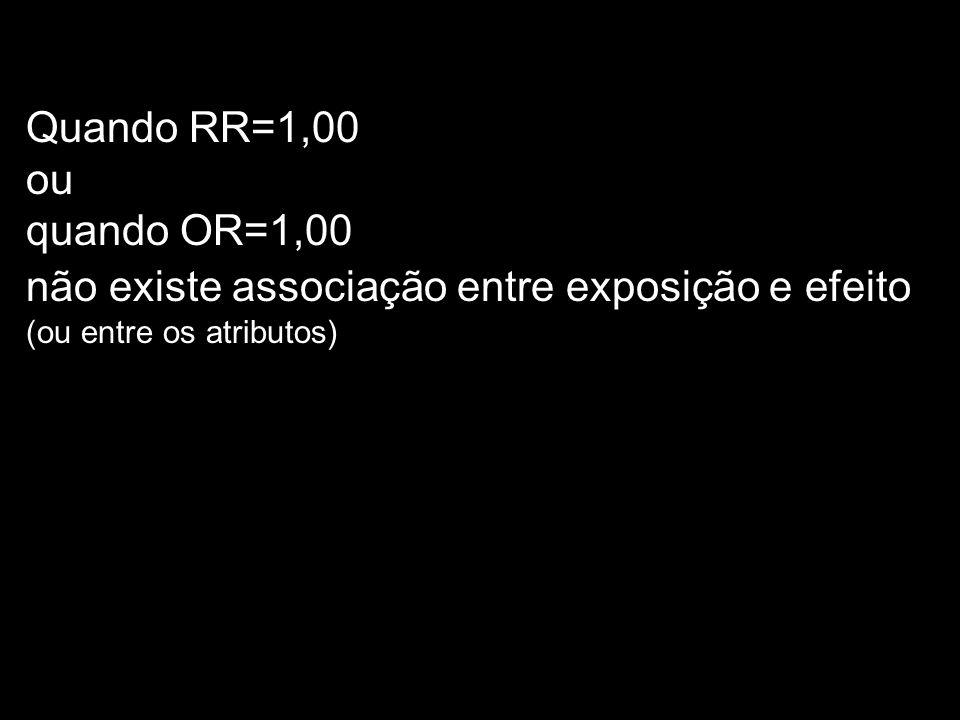 Quando RR=1,00 ou quando OR=1,00 não existe associação entre exposição e efeito (ou entre os atributos)