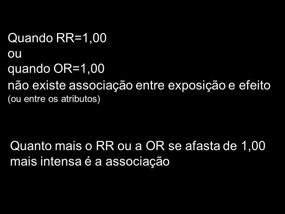 Quando RR=1,00 ou quando OR=1,00 não existe associação entre exposição e efeito (ou entre os atributos) Quanto mais o RR ou a OR se afasta de 1,00 mai