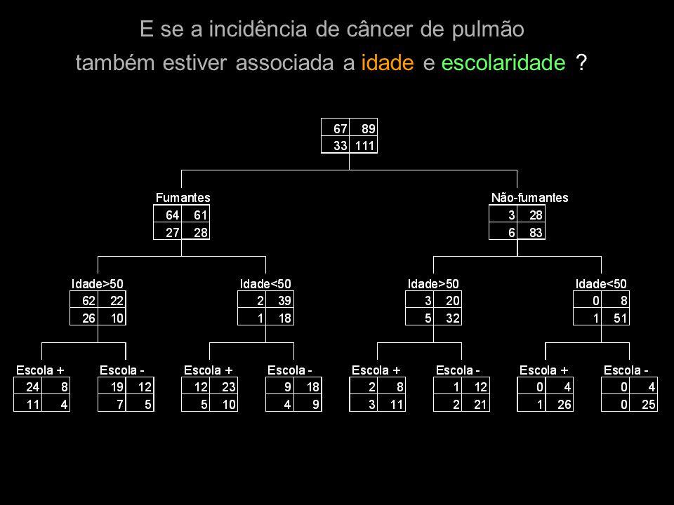 E se a incidência de câncer de pulmão também estiver associada a idade e escolaridade ?