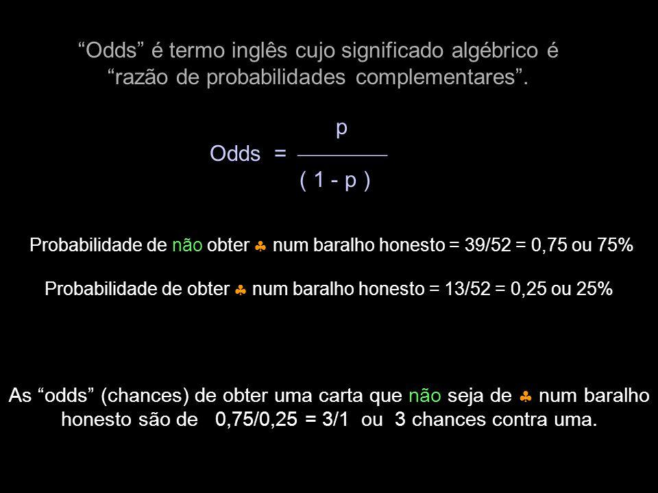 """""""Odds"""" é termo inglês cujo significado algébrico é """"razão de probabilidades complementares"""". p Odds =  ( 1 - p ) Probabilidade de não obter  num"""