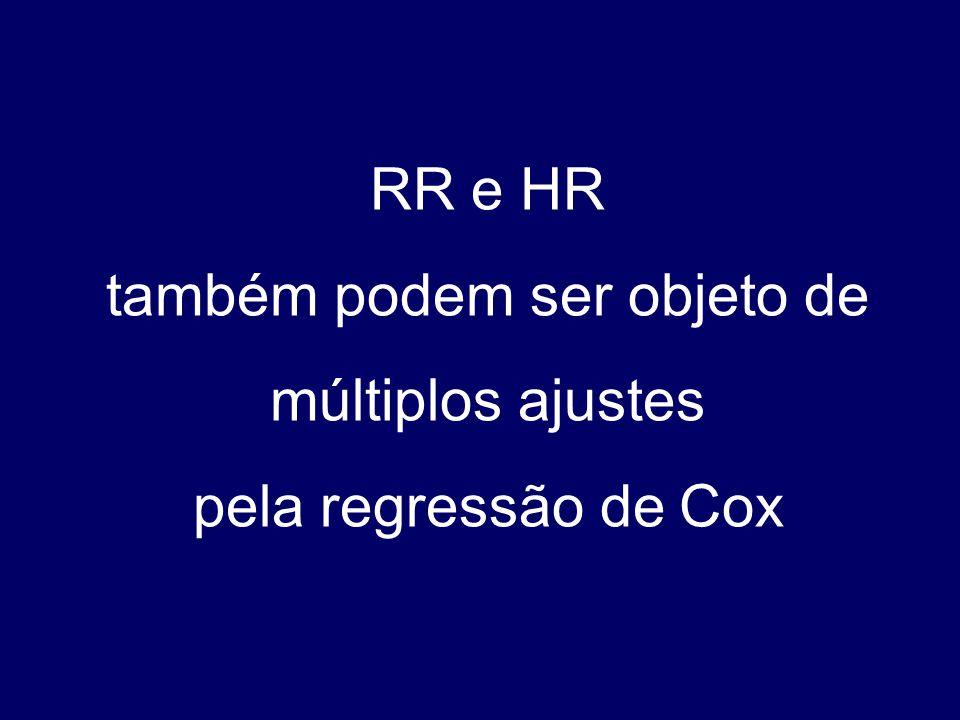 RR e HR também podem ser objeto de múltiplos ajustes pela regressão de Cox