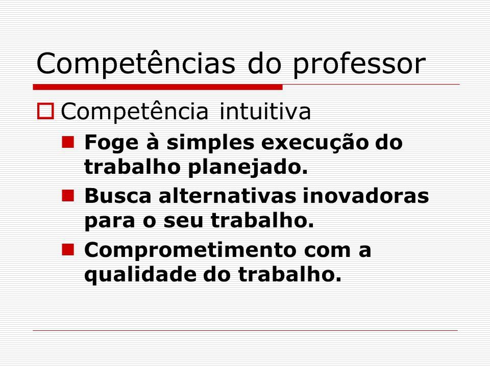 Competências do professor  Competência intuitiva Foge à simples execução do trabalho planejado. Busca alternativas inovadoras para o seu trabalho. Co