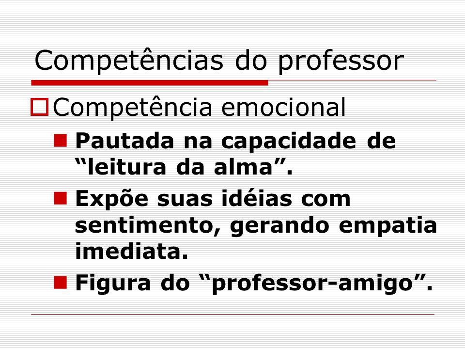 """Competências do professor  Competência emocional Pautada na capacidade de """"leitura da alma"""". Expõe suas idéias com sentimento, gerando empatia imedia"""