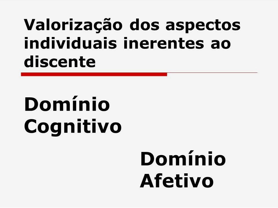 Valorização dos aspectos individuais inerentes ao discente Domínio Cognitivo Domínio Afetivo