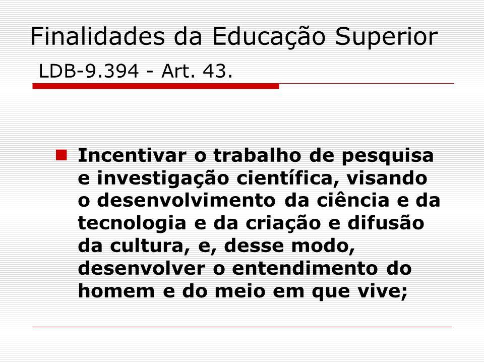 Finalidades da Educação Superior LDB-9.394 - Art. 43. Incentivar o trabalho de pesquisa e investigação científica, visando o desenvolvimento da ciênci