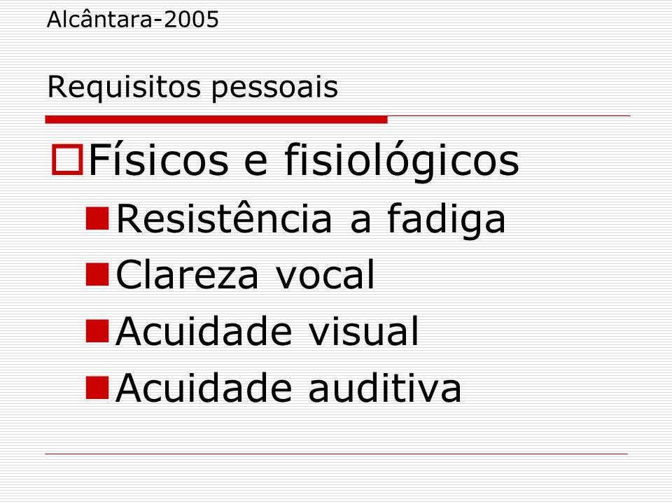 Alcântara-2005 Requisitos pessoais  Físicos e fisiológicos Resistência a fadiga Clareza vocal Acuidade visual Acuidade auditiva