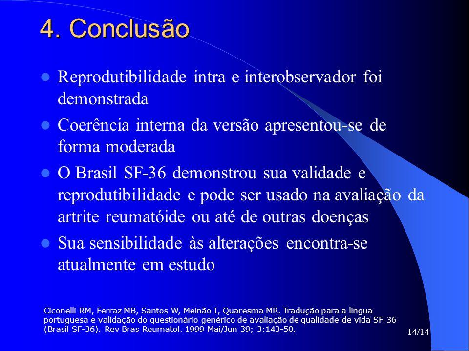 14/14 4. Conclusão Reprodutibilidade intra e interobservador foi demonstrada Coerência interna da versão apresentou-se de forma moderada O Brasil SF-3