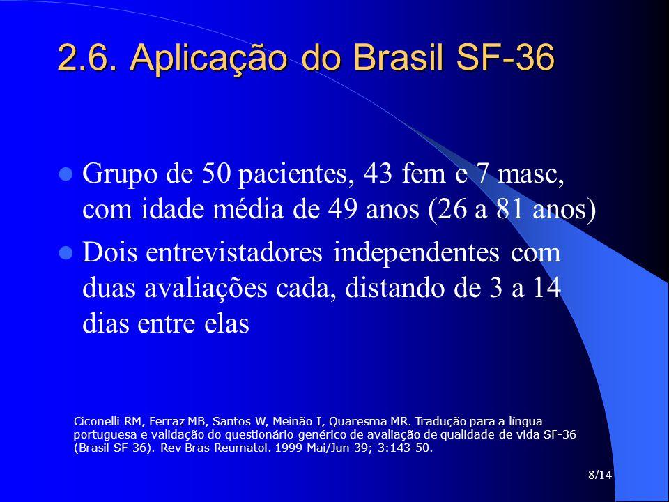 8/14 2.6. Aplicação do Brasil SF-36 Grupo de 50 pacientes, 43 fem e 7 masc, com idade média de 49 anos (26 a 81 anos) Dois entrevistadores independent