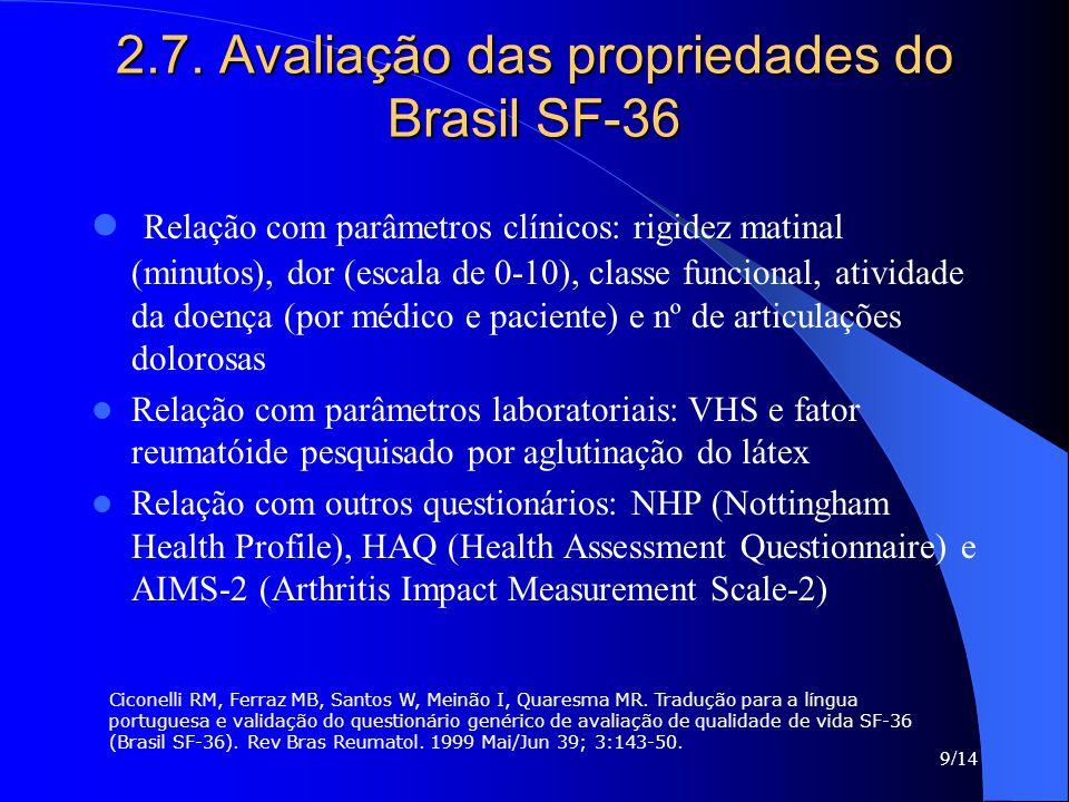 9/14 2.7. Avaliação das propriedades do Brasil SF-36 Relação com parâmetros clínicos: rigidez matinal (minutos), dor (escala de 0-10), classe funciona